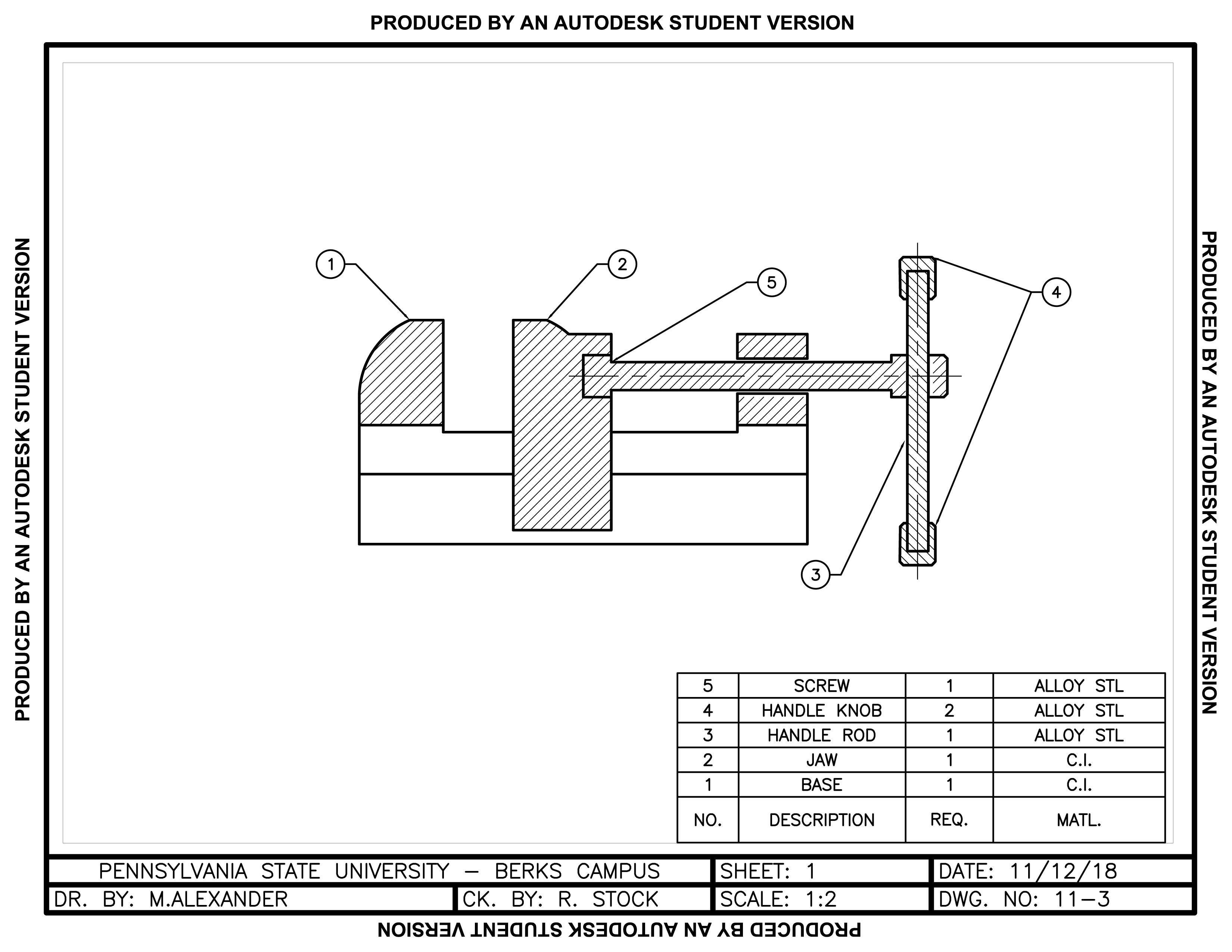 Vice Assembly - AutoCAD